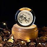 TTAototech Caja de música de cristal giratoria, luz nocturna de bola de cristal 3D con luz de proyección LED Base de madera, patrones de universo/luna/galaxia/tierra, regalo creativo de Navidad