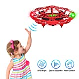 Flying Toys Drones for Kids, 2019 Improved Flying Ball Drone Toy with Infrared Sensor Auto-Avoid Obstacles 361°Rotating LED Light, Mini Quadcopter Hand Operated Drones for Boys and Girls