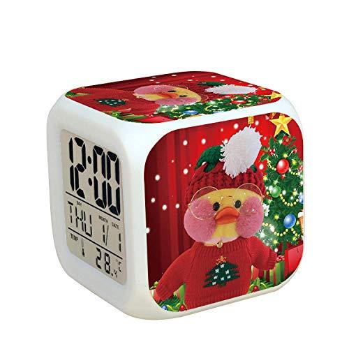 Kids nachtkastje digitale wekker LED kleurrijk nachtlicht sfeerwekker vierkant klok aanrakingsschakelaar stille reis kleine wekker met USB-oplaadaansluiting cadeau voor kinderen Q9520