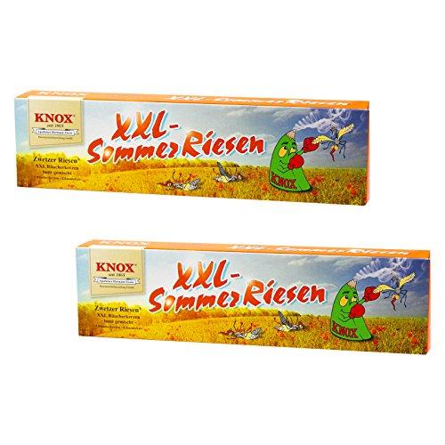 2er Pack XXL KNOX Räucherkerzen Sommerriesen, 2 x 5 Riesen-Räucherkerzen mit Glimmschale, Räucherkerzen Bunte Mischung