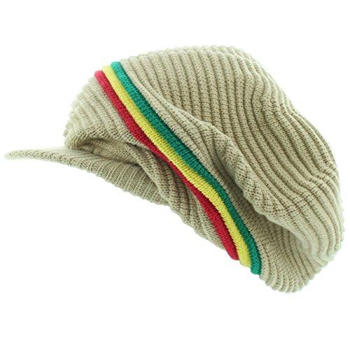 Milani Rasta Gerippte und Slouchy Beanie Visor Cap Woven Hat w/Red Yellow Green Stripe - Beige - Einheitsgröße