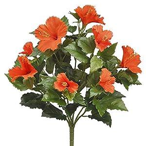 19″ Silk Hibiscus Flower Bush -Orange (Pack of 6)