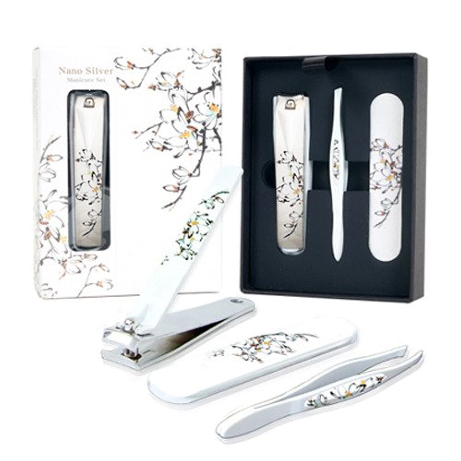 シュート団結十分ではないNano BELL Manicure Sets BN-301~304 爪の管理セット ナノシルバー爪切りセット 高品質のネイルケアセット高級感のある花モチーフ東洋画のデザイン (Magnolia(マグノリア))