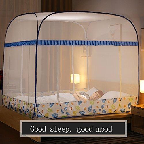Wghwww Moustiquaires à la Maison Libres installent Trois Portes 150 * 200 Cm / 180 * 200 Cm Bed (Couleur : Bleu, Taille : 180 * 200cm)