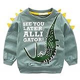 Ugitopi Felpe Casual Pullover Maglietta Tops in Cotone per Bambino 1-8 Anni Crocodile 110