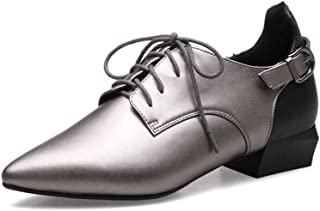 Judy Bacon Women's Classic Penny Loafers Pointed Toe Buckle Lace Up Leather Low Heel Comfort Dress Oxford Shoes