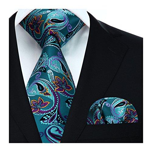 HISDERN Floral Paisley Wedding Tie Mouchoir Cravate et pochette pour hommes,Taille unique,Aqua / Violet