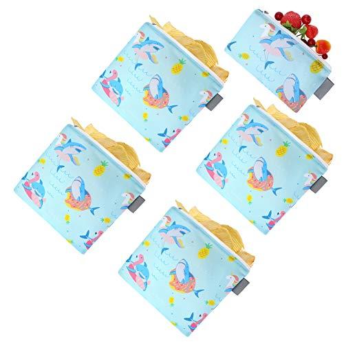 miuse Set of 5 Reusable Sandwich Snack Bags, Unicorn Shark Flamingo...