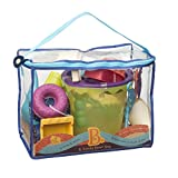 B. toys – B. Ready Beach Bag – Beach Tote with Mesh Panel and 11 Funky Sand Toys – Phthalates and BPA Free – 18 m+, Lime Bucket