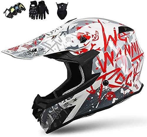 Casco Motocross Niño 5~12 Años ECE Homologado Casco Moto Integral Unisex para Moto Cross Descenso Enduro MTB Quad BMX Bicicleta (Gafas+Máscara+Guantes) (XL)