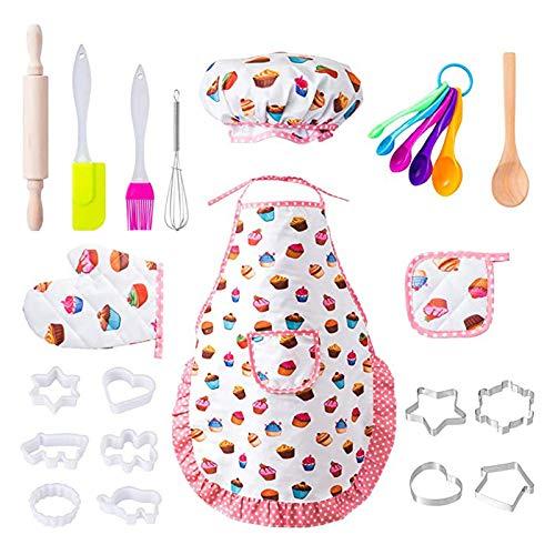 Huaduo Juego de cocina para niños, 20 piezas, mini juego de cocina para niños, imitación de utensilios de cocina, máquina de troquelar con delantal, para la fiesta de cumpleaños