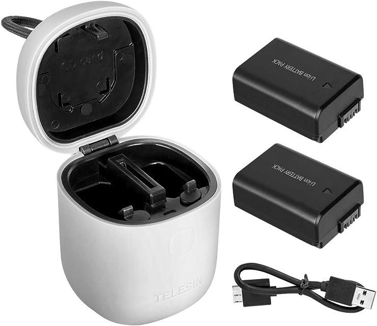 TELESIN allinbox Baterías para la cámara NP-FW50 Juego de Cargador para la batería Sony A6000 A6500 A6300 A7 A7II A7RII A7SII A7SA7S2A7RA7R2A55A5100 (Gris allinbox + 2 baterías NP-FW50)