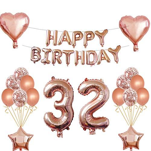 Oumezon 32 - Guirnalda decorativa de cumpleaños para niña, color oro rosa