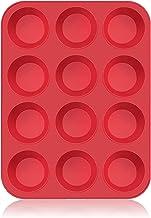 SUPER KITCHEN Grote muffinvorm van siliconen voor 12 muffins, anti-aanbaklaag, bakvorm voor cupcakes, brownies, cake, pudd...