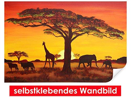 Image murale auto-adhésif African Sunset – Facile à coller – Wall Print, Wall Paper, Poster, film vinyle avec point décoratif pour murs, portes, meubles et toutes les surfaces lisses de Trend murs, 150 x 100 cm