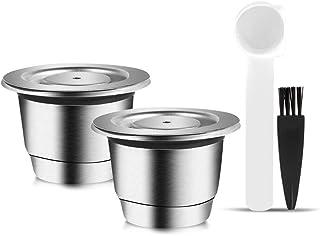 Nimoa C/ápsula de caf/é reutilizable de acero inoxidable con cuchara Compatible con la m/áquina Nespresso