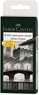 6 Pitt artist pens, shades of grey, brush pens