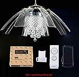 Luz de ventilador de techo de cristal moderna con 8 hojas de acrílico transparentes plegables Control remoto deextraccióninvisible y luz-fan_and_RC_set_1_Diameter_42_inch_220V