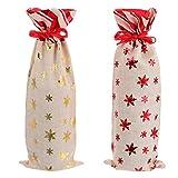 Hemoton 2Pcs Bolsas de Regalo de Vino de Navidad Copo de Nieve Vino Bolsa de Champán Tapas de Botellas de Vino Reutilizables para La Fiesta de Cumpleaños de La Boda de Navidad (Colores