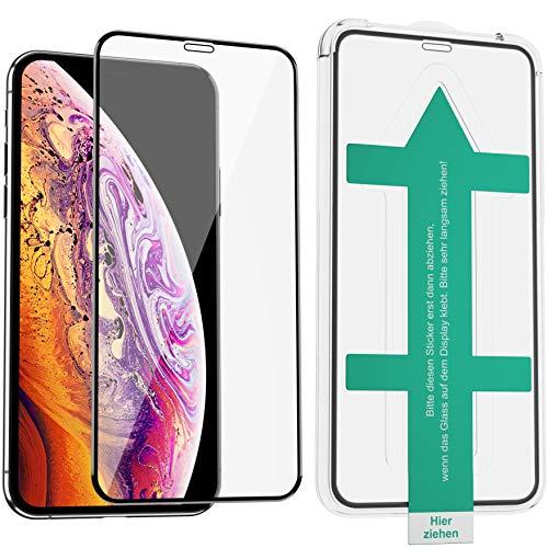 XeloTech 3D/4D Panzerglas mit Schablone für iPhone 11 Pro (5.8') Xs & X - Glasfolie als Vollglas Displayschutz - Schutzfolie schützt auch den Rand - Hüllenfreundlich