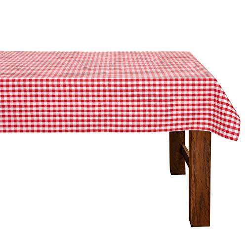 FILU Tischdecke 140 x 220 cm Rot/Weiß kariert (Farbe und Größe wählbar) - hochwertig gefertigtes Tischtuch aus 100% Baumwolle