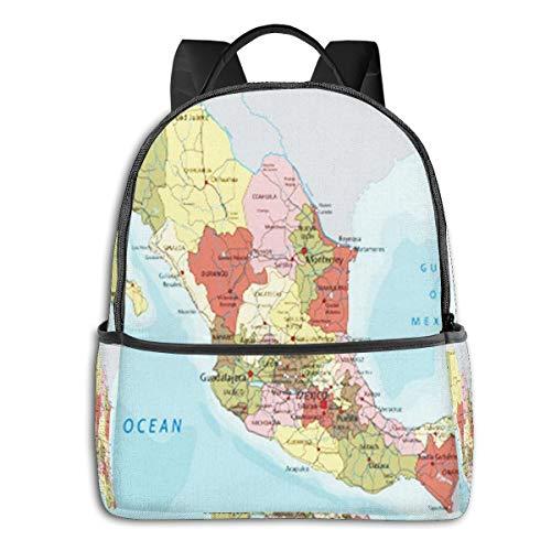 SGSKJ Mochila Tipo Casual Mochila Escolares Mochilas Escolar Estilo Impermeable para Viaje de Ordenador Portátil para Hombre Mujer Mexico Map America