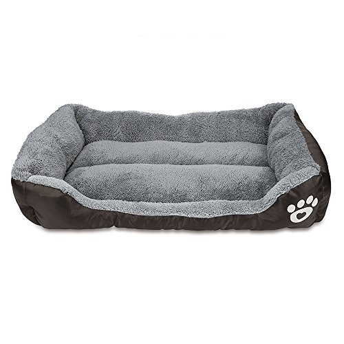 SANHUI Dog Bed, Pet Sofa Bed, Pet Bed, Ultra-soft Paw Print Water-resistant Dog Cat Warm Bed Fits Most Pets (22.83 x 17.72 x 4.72 inches)