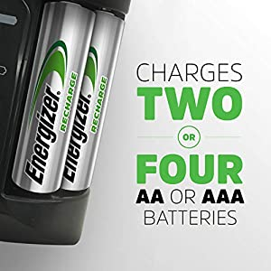 Energizer Rechargeable AA and AAA Battery Charger (Recharge Pro) with 4 AA NiMH Rechargeable Batteries, Auto-Safety Feature, Over-charge Protection