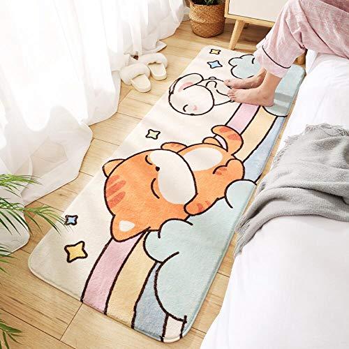 Z-DJJ Alfombra de cocina, alfombra de baño, diseño de conejito de gatito, antideslizante, suave, absorbente, para escalera, baño, dormitorio, cocina (60 x 160 cm), #4