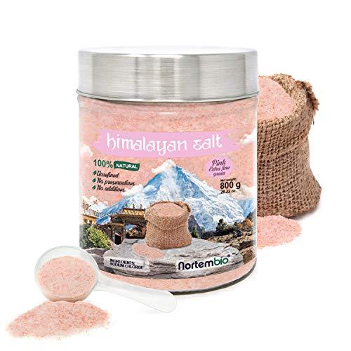 Nortembio Sel Rose de l'Himalaya 800 g. Extra Fin (0,5-1 mm). 100% Naturel. Sans Affiner. Sans Conservateurs. Extrait à la Main. Qualité Premium.