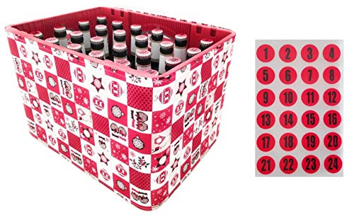 Männer Adventskalender zum selbermachen | 1-24 Aufkleber für Kronkorken + Bierkastenhusse mit Weihnachtsmotiv | Weihnachtshusse | Deko-Artikel für Bierkisten | Wichtelgeschenk | Geschenkidee