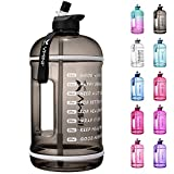 Vmini Water bottler with Time Marker, Motivational Water bottle & 1 Gallon Water Bottle with Time Marker to Drink More Daily - Leakproof Reusable Gym Sports Outdoor Large Capacity (128 oz, Black)