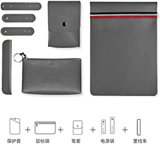 """WIWU 5 in 1 Bundle Laptop Sleeve,PU Leather Case Bag, Lightweight Waterproof Protective Carrying Cover Compatible for Apple MacBook ThinkPad Dell HP Surface Book Fits 13/13.3/13.9 inch (13"""",Grey)"""