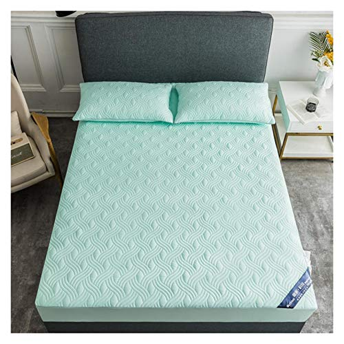 LJP Bedding Quilted Fitted Bed Cover Deep Pocket Soft Breathable Machine Washable Mattress Encasement Non Slip Durable (Color : Green, Size : 120x200cm)