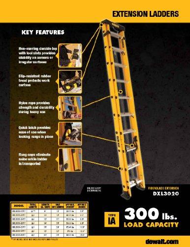 DeWalt DXL3020-28PT Fiberglass Extension Ladder, 28-Foot, Yellow