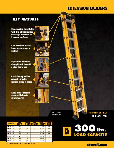 DeWalt DXL3020-24PT 24-Feet Fiberglass Extension ladder Type IA with 300-Pound Duty Rating, 24-Feet,Yellow