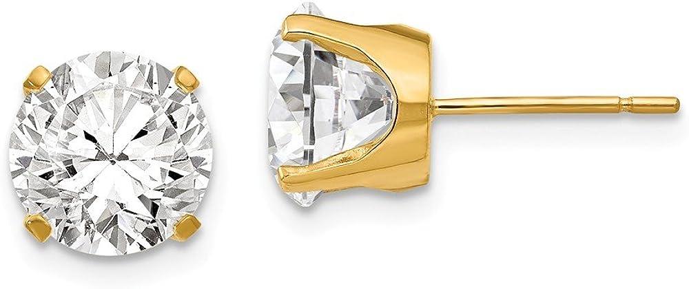 Solid 14k Yellow Gold 8mm CZ Cubic Zirconia stud earrings