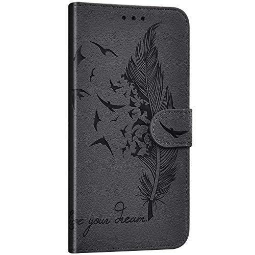 Saceebe Compatible avec Samsung Galaxy A70 Étui Housse en Cuir Portefeuille Coque Magnétique Flip Cover Fentes de Cartes Plume oiseau Motif Pochette Coque Protection avec à Rabat Stand,Gris
