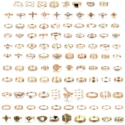 Milacolato 108Pcs Midi Ring Bohemian Knuckle Ring Sets Fashion Finger Vintage Rose Gold/Golden Stackable Rings for Women Knuckle Midi Rings
