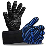 Premium BBQ Gloves, 1472°F Extreme Heat Resistant Oven Gloves, Grilling Gloves with Cut Resistant, Durable Fireproof Kitchen Oven Mitts Designed for Cooking, Grill, Frying, Baking (Blue+Black)