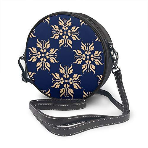 Rterss Schultertasche mit goldfarbenen Blumen, Textiltapete auf blauem Hintergrund, rund, Schultergurt, Leder, Vintage-Stil, verstellbar