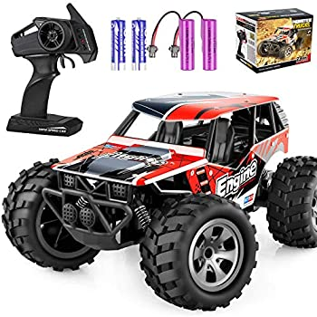 TREYWELL 2.4GHZ 1:18 Fast Racing Remote Control Truck with 4 Batteries