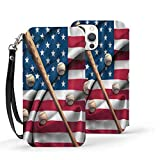 Baseball Bat on American National Flag iPhone 12 Wallet Case with Card Holder Kickstand Detachable Wrist Strap PU Leather Compatible Iphone12 Pro Max-6.7 2020 Shockproof Magnetic TPU Phone Cover