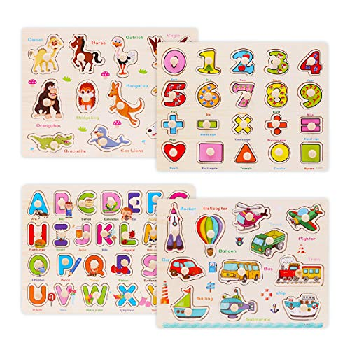 Wooden Peg Puzzles for Toddlers 2 3 Years Old, WOOD CITY Alphabet & Number Puzzles for Kids, 4 Pcs Toddler Puzzles Set - Letters, Numbers, Animals and Vehicles, Learning Toys Gift for Girls and Boys