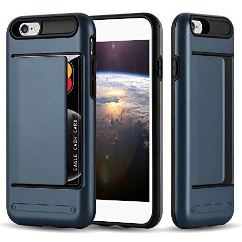 Cadorabo Funda para Apple iPhone 6 / iPhone 6S Funda Hybrid Armor en Azul Oscuro Armadura – Cubierta Protectora de Plástico e Silicone TPU con Antichoque e Tarjetero –