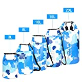 CoolStory 2019 Outdoor Waterproof Bag Dry Bag Backpack Kayak Rafting Sport Portable Storage Camping Travel Kits River Trekking Bag,camouflagebluebag,XX-Large
