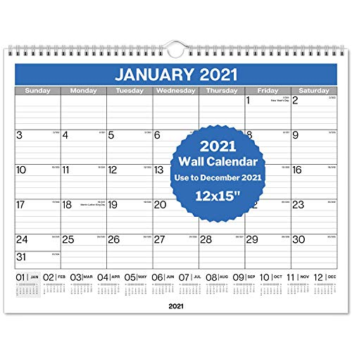 """Dunwell Wall Calendar 2020-2021 12x15"""" - Use Now to December 2021, Hanging Monthly Calendar for Planning and Organizing Home or Office, for School Year and 2021 Calendar"""