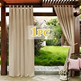 PONY DANCE Waterproof Outdoor Curtain - 84' Long Blackout Slot Top Sunlight & UV Rays Prevent Curtain Drapery for Yard Gazebo Window Dressing, Set of 1, Width 52-inch x Length 84-inch, Biscotti Beige