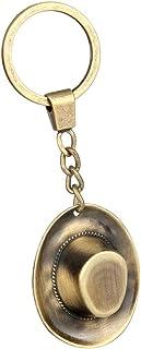 F Fityle Antique Bronze Cowboy Hat Design Keyring Vintage Metal Brass Keychain Decor Ornament