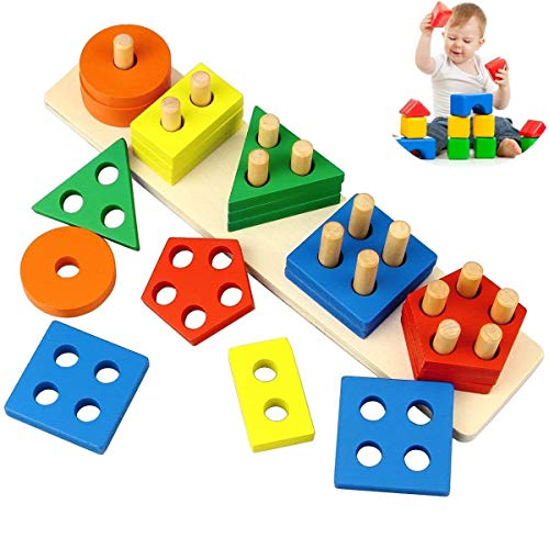 DQTYE Wooden Toys, Geometrical Shapes Stacking Game Preschool Learning Educational Building Sort Board Toy For Baby Toddler